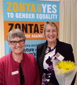 Kath Snashall  from Zonta with Diana MacTiernan