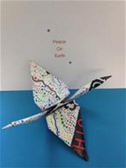 Paper crane aerial Peace on Earth